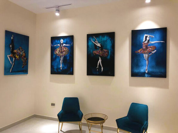 Venustas (Beauty), Frimitas (Strength) , Utilitas (Functionality), Celine paintings from Earthly Grace Collection by Kristel Bechara