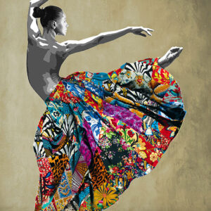 Kristel Bechara, UAE Resident Award winning artist, expresses the Arabesque culture through this painting of a ballerina