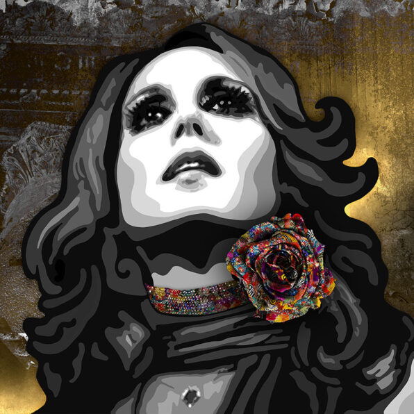 Kristel Bechara depicts jewel of Lebanon Fairuz, arab world's most listened to singer, in this contemporary art painting