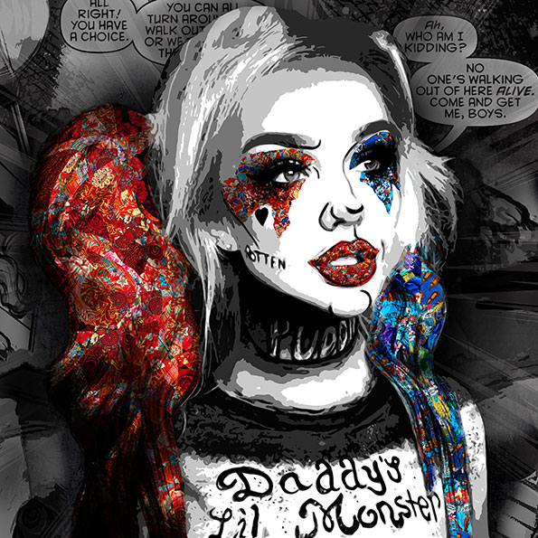 """The heroic traits of Superheroes are portrayed using dynamic colors in those """"Superheroes"""" paintings, an art collection by Kristel Bechara-Harley Quinn"""