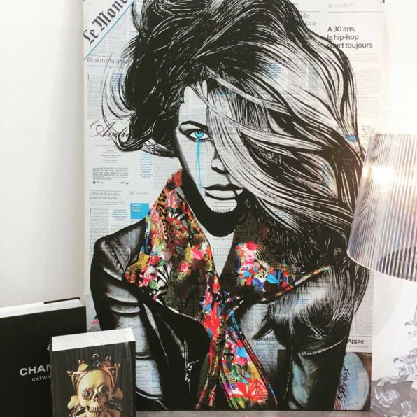 """""""Sleepless""""painting is done in ink on newspaper pages collated on cardboard with Artist Skopelitis in this art collection. Worlwide shipping!"""