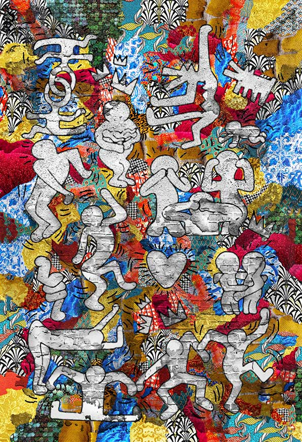 """Historical artwork is reintroduced with a modern flair with Kristel Bechara's """"Tribute to the Masters"""" art collection-Keith Haring"""