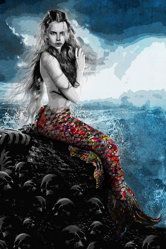 """Kristel Bechara's unique interpretation, artistic style, and perception is illustrated in """"Mystic Voices"""" paintings of this art collection-Mermaid"""