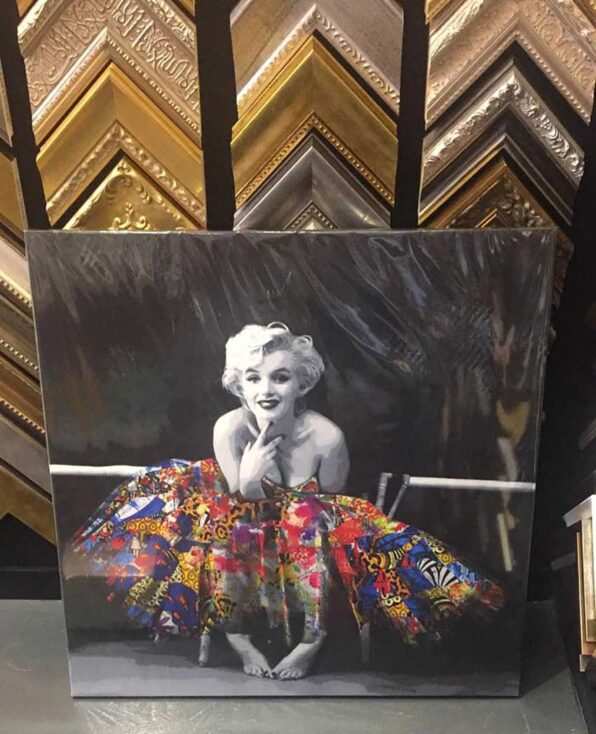 In this contemporary art painting, the iconic Marilyn Monroe and her tutu are portrayed by Kristel Bechara