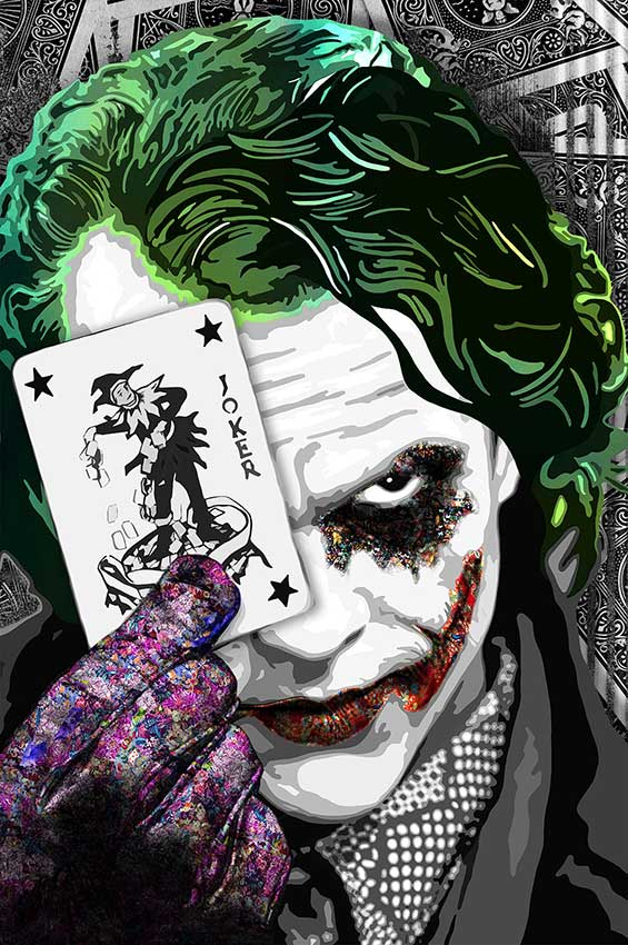 """The heroic traits of Superheroes are portrayed using dynamic colors in those """"Superheroes"""" paintings, an art collection by Kristel Bechara-The Joker"""