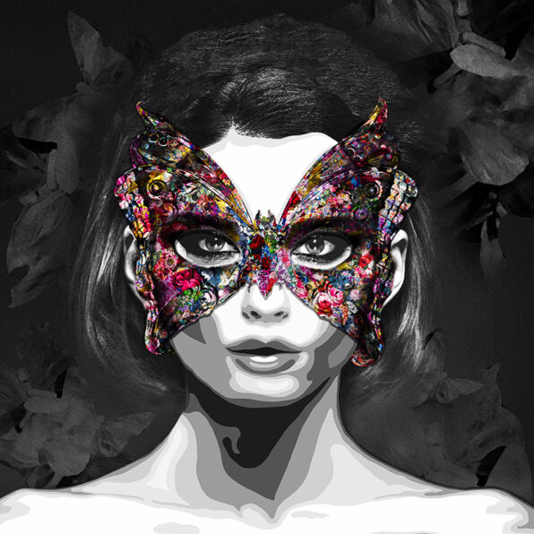 Ask a Woman is an art collection by Kristel Bechara representating a celebration of a woman's freedom-The Girl with The Butterfly Mask