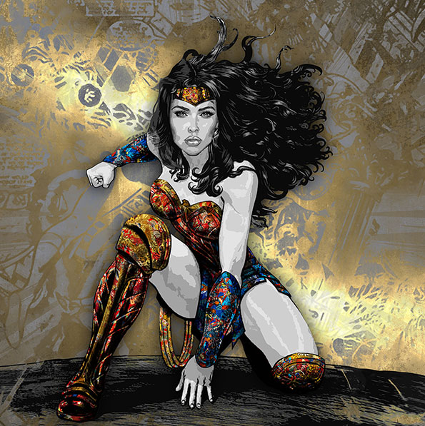 """The heroic traits of Superheroes are portrayed using dynamic colors in those """"Superheroes"""" paintings, an art collection by Kristel Bechara-Wonder Woman"""