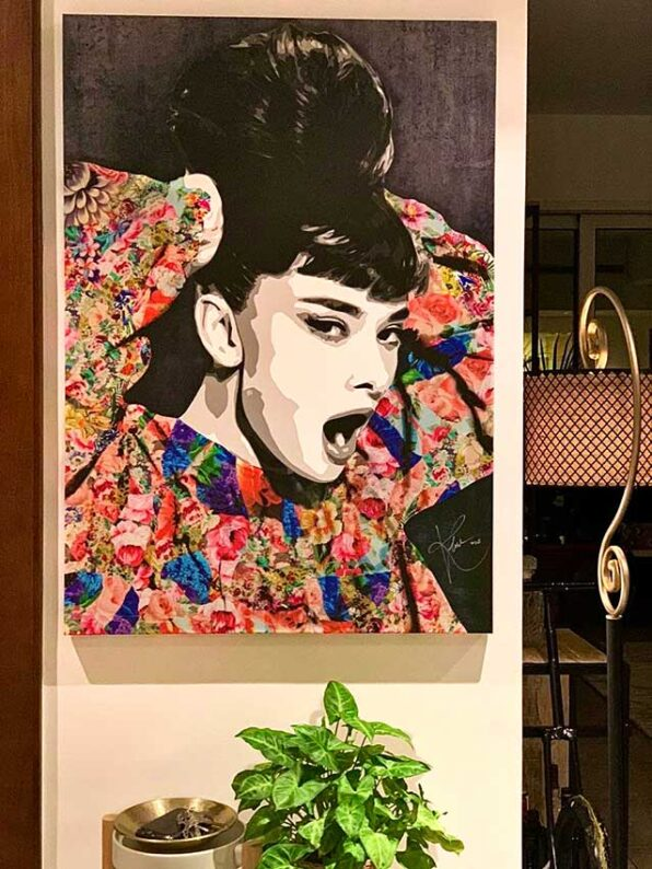 """Beauty style icon """"Audrey Hepburn"""" is portrayed in this contemporary art painting by Kristel Bechara"""