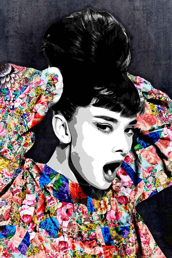 Inamorata is an art collection by Kristel Bechara based on legendary beauties-Audrey Hepburn