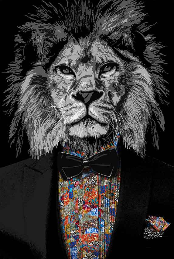Contemporary painting by Kristel Bechara-Mystic Voices Lion Man