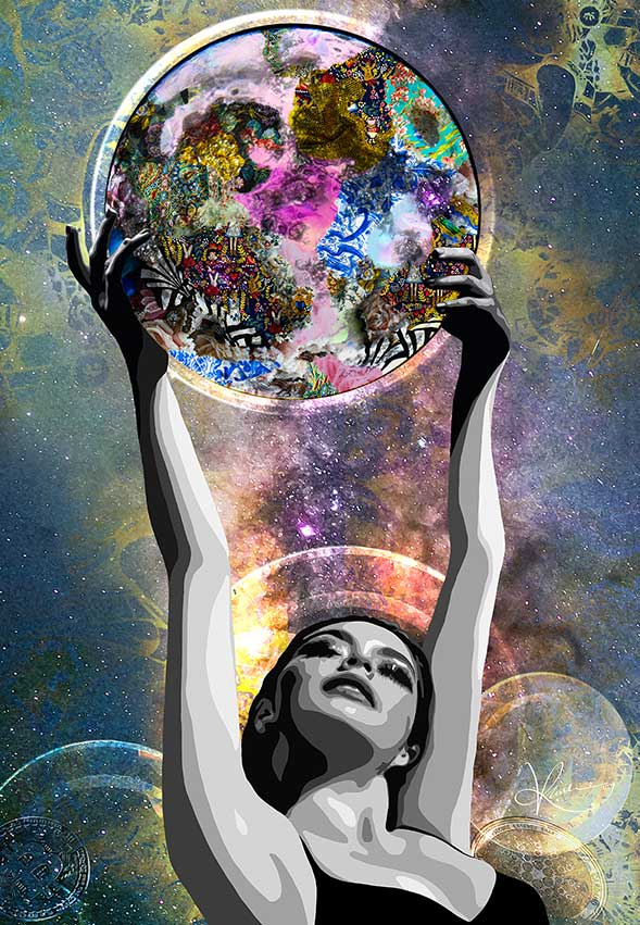 "Kristel Bechara, the first Middle Eastern artist to sell art as Non-Fungible token, depicts the term ""To the Moon"" in this digital artwork"