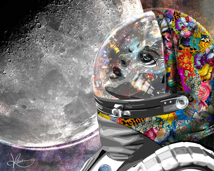 """""""Mooning"""" the explosive rise of a currency's value is portrayed in this digital artwork sold as a Non-Fungible Token by Kristel Bechara"""