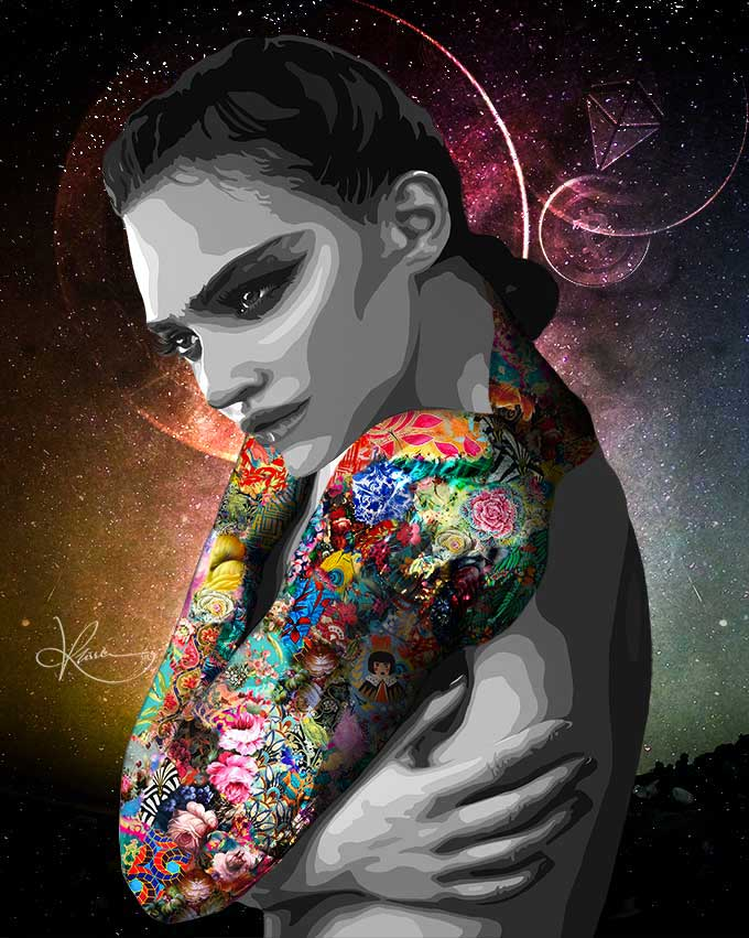 HODL, is portrayed by Kristel Bechara in this digital artwork, this Non-Fungible Token depicts the act of holding as one reaches the moon